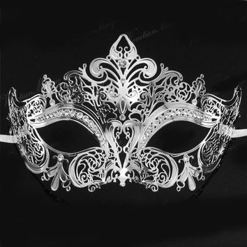 Luxury Fancy Gold Black Venetian Metal Filigree Rhinestones Party Mask Silver Mardi Gras Wedding Prom Masquerade Masks Dress