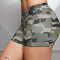 Women's Camouflage Compression Shorts Casual Women Bottoms Shorts Girls Shortstight Female Bodybuilding