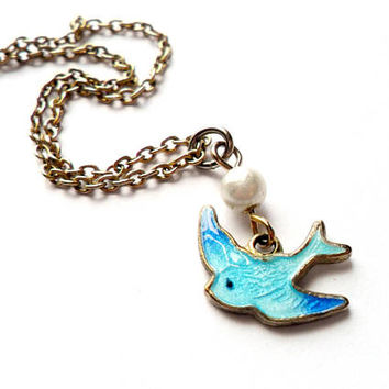 Vintage Guilloche Blue Bird Necklace Sarah Coventry Dainty Charm Faux Pearl Signed Marked Enamel Swallow
