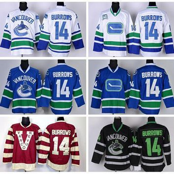 Best 14 Alex Burrowsi Vancouver Canucks Jerseys Ice Hockey Team Color Blue White Black Burgundy Maroon Red Fashion Sports Jerseys