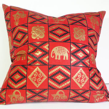 Tribal Pillows, Red Decorative Throw Pillow, Exotic, Unusual, Wax Print, Red Gold Black Cushion Cover, African, Elephants 20x20