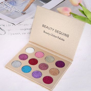 12 Color Waterproof Glitter Diamond Rainbow Eyeshadow Palette