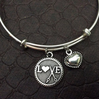 LOVE Hair Stylist or I Love to Sew Charm on a Silver Expandable Adjustable Bangle Bracelet Gift