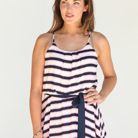 Nautical Neon Pink and Navy Skinny Strap Dress