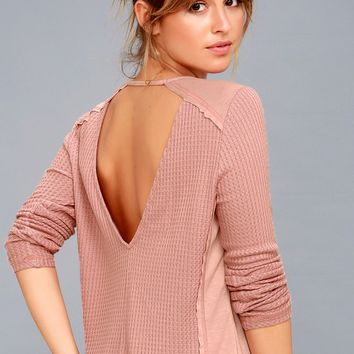 Layer of Love Mauve Pink Backless Long Sleeve Top