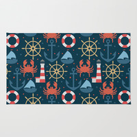 Sea blue pattern Rug by Julia Badeeva