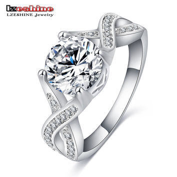 LZESHINE Luxury Imitation Diamond Jewelry Silver Plated Ring Engagement Bague Femme Vintage Rings for Women Bijoux CRI0402-B