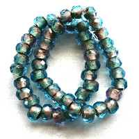 Ten Czech glass roller beads, 9mm x 6mm capri blue & crystal, gold lined, faceted round roller, rondelle beads, big 3.5mm hole beads C02110