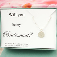 Will you be my Bridesmaid necklace gift for Bridesmaid invite sterling silver initial necklace, personalized bridesmaids gift box