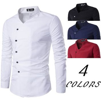 2017 foreign trade new men's leisure shirt placket oblique aliexpress fashion small collar mens dress french cuff men burderry