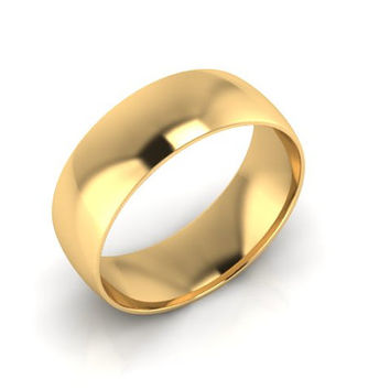 Wedding Band, Solid Gold Wedding Band 7.00mm 14K Yellow Gold Wedding Band, Hand Made Wedding Band, Free Engraving, Promise Ring, 7.00mm