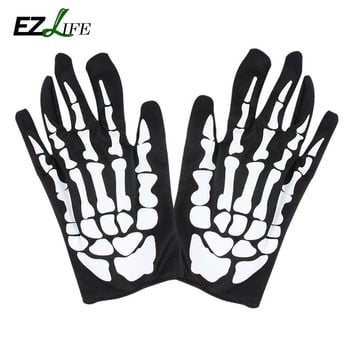 1 pair Halloween Skull Bone Skeleton Goth Racing Full Finger Gloves Scary dress up wearing Halloween supply HD0222