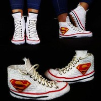 DCCKHD9 Knitting Crochet Converse Chuck Taylor All Star Hi Superman Sneaker, Superman Chuck Ta