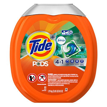 Tide Pods Plus Febreze He Turbo Laundry Detergent Pacs Tub, Botanical Rain, 61 Count