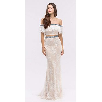 Off-Shoulder Two-Piece Beaded Lace Long Prom Dress Ivory
