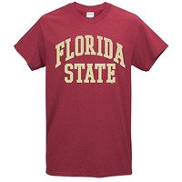 Value Priced Short Sleeve T-shirt with Arched Florida State Garnet
