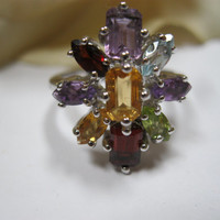 Vintage Sterling Multi Gemstone Ring Size 8