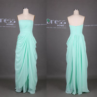 Mint Green Strapless Ruffles Chiffon A Line Long Bridesmaid Dress/Floor Length Wedding Party Dress/Mint Prom Dress/Bridesmaid Dress DH347