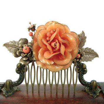 Gilded Coral Flower Hair Comb - Hand Painted Swarovski Pearl Bronze Hair Comb - Bridal Hair Accessories Vintage Style Comb Coral Wedding