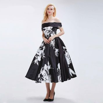 Black Elegant Prom Dresses for Women Sexy Off the Shoulder Simple Floral Pattern Short Party Gowns