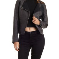 Black Faux Suede & Faux Leather Moto Jacket by Charlotte Russe