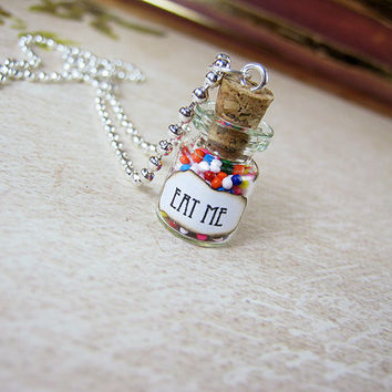 Alice in Wonderland EAT ME 0.5ml Glass Vial Bottle Necklace - Looking Glass Eat Me Drink Me Fantasy Pendant