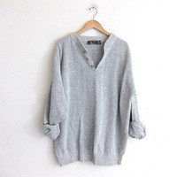 vintage slouchy sweater. oversized light gray sweater. henley pullover shirt.