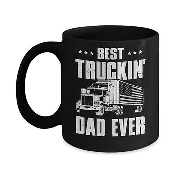 Best Truckin' Dad Ever American Flag Trucker Fathers Day Mug
