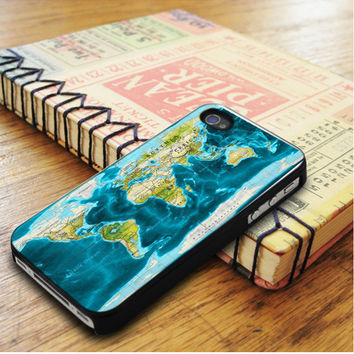 Blue Color World Map iPhone 5 | iPhone 5S Case