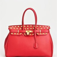 Bright Stud Embellished Genuine Leather Satchel - Made In Italy - The Summer Handbag: Michael Kors, Kate Spade, Coach and more - Modnique.com