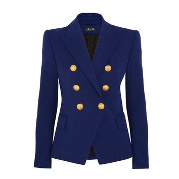 Women Workwear Blue Blazer Double Breasted Metal Buttons Outerwear Jacket Formal Blazers HIGH QUALITY