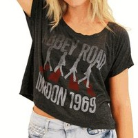 The Beatles Abbey Road London 1969 Charcoal Heather Scoop Neck Juniors Crop Top - The Beatles - | TV Store Online