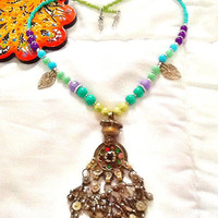 SALE---- KUCHI DIVA Belly Dance Necklace- Middle Eastern Jewelry- Tribal Kuchi Jewelry- Bohemian jewelry- gypsy Jewelry
