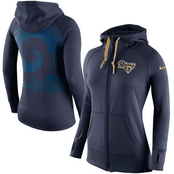 St. Louis Rams Nike Womens Warpspeed All Time Full-Zip Performance Hoodie – Navy Blue