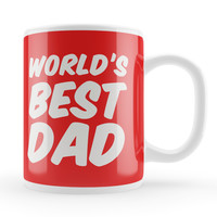 World's Best Dad Red White Ceramic Mug by Tom Pearson
