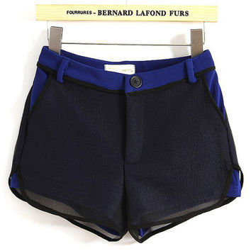 Navy Blue Low Waist Shorts