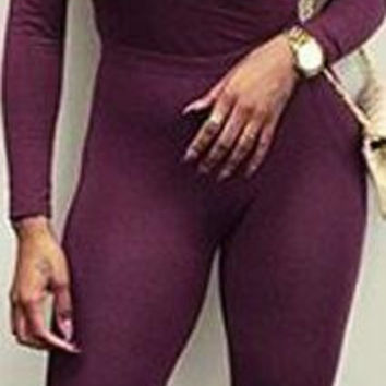 Long Sleeve Deep V-neck Pure Color Slim Long Jumpsuit