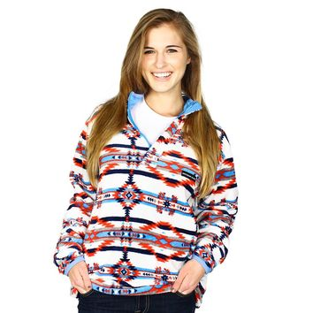 Harbuck Fleece 1/4 Zip Pullover in White and Navy by Southern Marsh