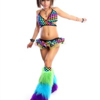 Rainbow Checks Ibiza Outfit : Complete Rave Outfit with TuTu and Fluffies