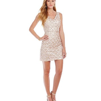 Hailey by Adrianna Papell Sequin Lace Dress | Dillards