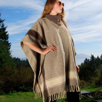 70s Striped Wool Poncho Cape, Southwestern Turtleneck Sweater, Boho Fringed Shawl, Hand Woven Mexican Blanket Poncho, Fall Festival Hippie