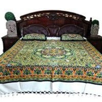 Bohemian Bedspread- India Inspired Bedding Orange Green White Paisley Printed Cotton Bedcover | Mogul Interior