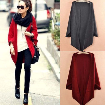 New Korea Style Women Loose Batwing Cardigans Shawl Knit Jacket Woolen Coat Sweater Knitwear Tops H0837
