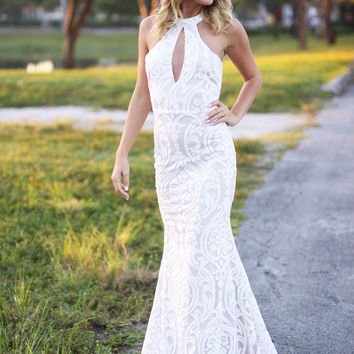 Ivory Maxi Dress with Keyhole