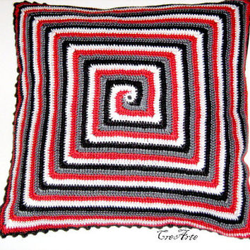 Crochet Pillow Spiral, Decorative Cushion, Handmade Cushion, Cushion Cover, Vintage Pillow, Cuscino a Spirale (Cod. 38)