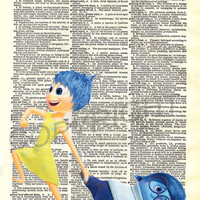 Inside Out Joy and Sadness Dictionary Art Print