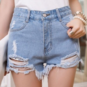 Hole irregular high waisted shorts denim jeans 6 Size (S-3XL) 3 color Plus Size [8321422535]