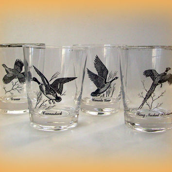 Vintage 50's Federal Glass Barware Waterfowl Highball Glasses Set of 4