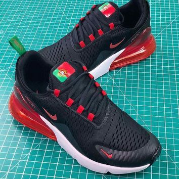 Nike Air Max 270 Fifa World Cup 2018 For Portugal In Black Red Sport Running Shoes Sale