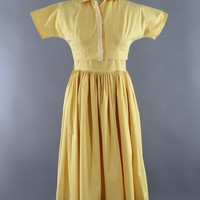 Vintage 1950s Yellow Cotton Dress and Blouse Set